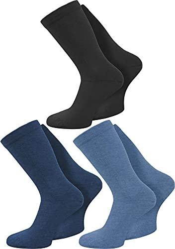 normani 3 Paar spezielle Komfort-Socken ohne Gummi für Diabetiker oder Problemfüße (z.B. Wasserbeine/Elefantenfüße) Farbe Blau-Sortiert Größe 43-46
