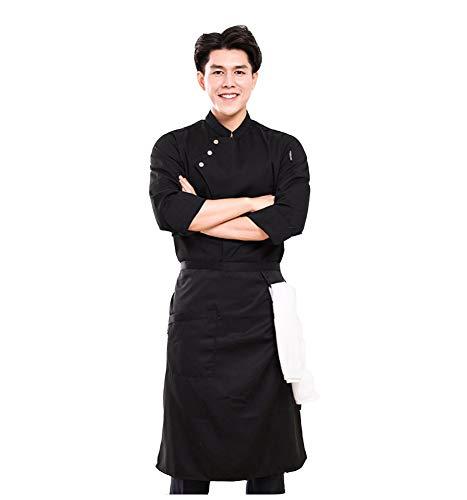 Jolie Koch Uniform Unisex Hemden Kochen Bäckerei-Restaurant Arbeitskleidung Lange Ärmel Kellnerin Gastronomie Kochjacken,Schwarz,L