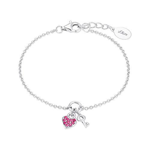 s.Oliver Armkette für Mädchen pinkfarbene und weiße Zirkonia, 925er Sterling Silber