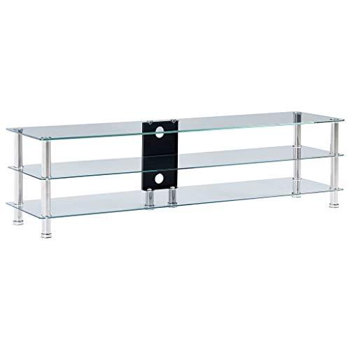 vidaXL TV Tisch mit 2 Regalböden Fernsehtisch Fernsehschrank Schrank Lowboard Unterschrank Board Regal HiFi Möbel Transparent 150x40x40 cm Gehärtetes Glas