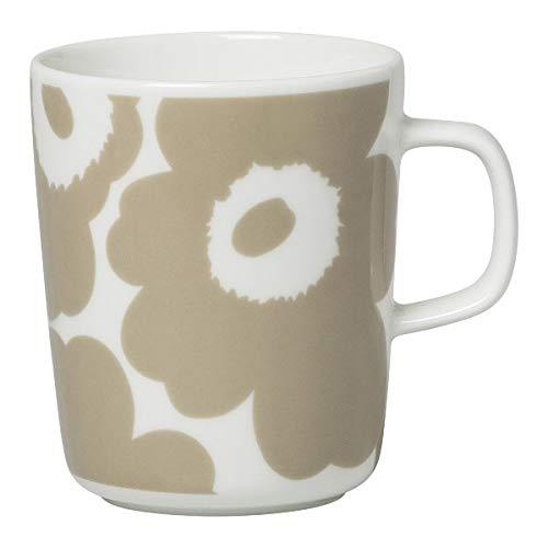 Marimekko - Becher, Kaffeebecher, Henkelbecher- Oiva-Unikko - Weiß-Beige - Steingut - Höhe 9,5 cm