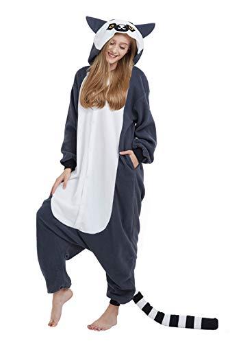 Pigiama Animali Kigurumi Gatto Procione Cosplay Lemure Animale Adulti da Unisex Uomo Donna Taglia L