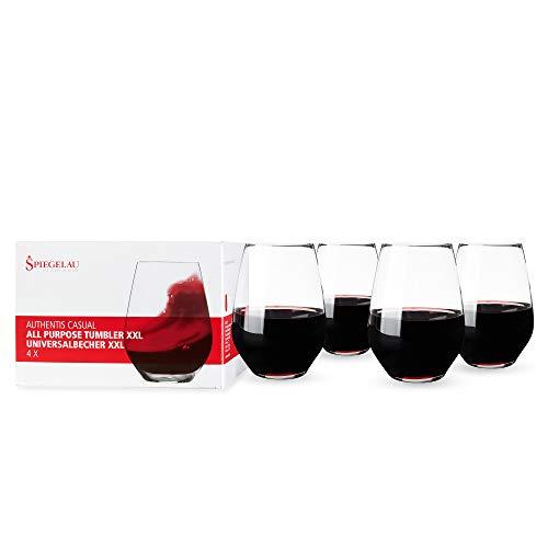 Spiegelau Authentis Casual Universalbecher XXL, 4er Set, Weinglas, Rotweinglas, Weißweinglas, Wein, Glas, Kristallglas, H 12.9 cm, 630 ml, 4800277