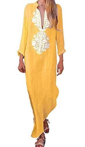 Vestidos Mujer Casual Vestido de Verano Largo Maxi Falda Cuello en V Boho Estampado de Manga Larga Fiesta Mujer Playa Suelto Kaftan, Amarillo