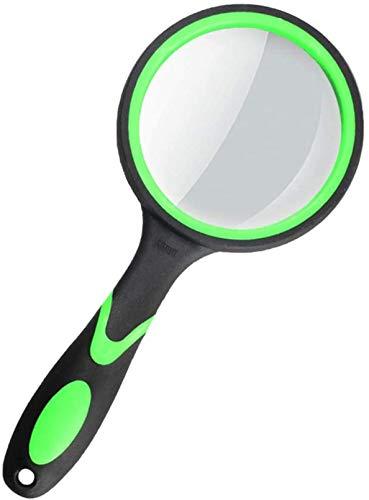 HJTLK Magnifying Glass 10X Handheld Reading Magnifier for Seniors & Kids,with Non-Slip Rubber...
