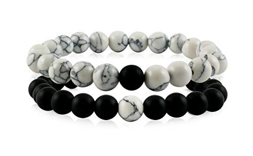 Nuoli® Partnerarmbänder aus Natursteinperlen (2 Stück) Armband für Frauen und Männer, Freundschaftsarmband und Geschenk für Paare