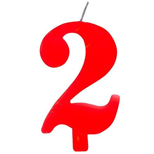 Candela numero 2 ROSSO SCINTILLANTE - numerale h 9,5cm - Candelina ROSSA per Torta e dolci - candela di compleanno in cera a forma di numero (2 due)
