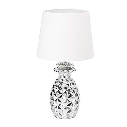 Relaxdays Lámpara de mesa, Forma de piña, Pantalla de tela, Original, Decorativa, Plateado/Blanco, 47 x 25 cm