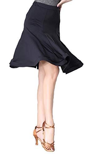 【STAR REED】社交ダンス ラテン スカート インナーパンツ ブラック ダンスウェア ダンススカート レッスン着 練習着 (黒, S)