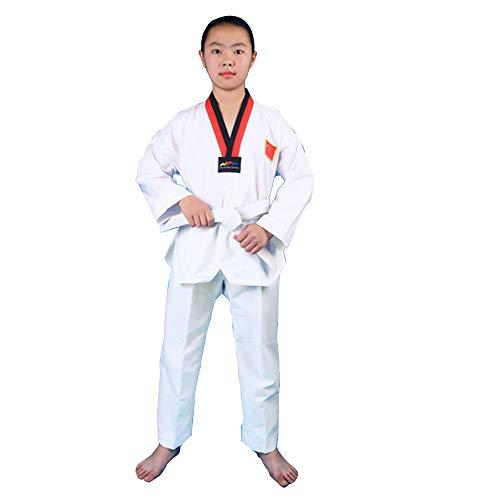Trajes de Taekwondo para niños, Trajes de Taekwondo Ligeros y Transpirables para el Verano, Trajes de Entrenamiento de Manga Larga-XXXS