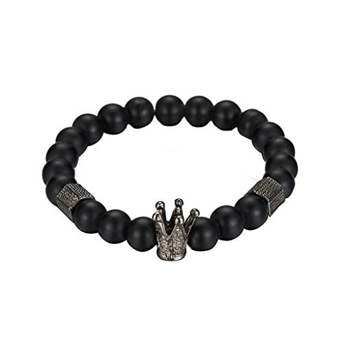 MISHITI 8mm Crown King Charm Pulsera para Hombres Mujeres Negro Mate Onyx Stone Beads Jewery