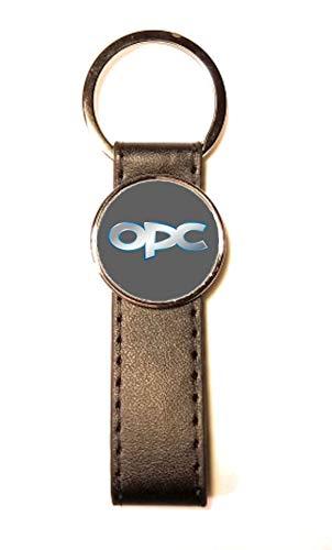 Schlüsselanhänger Stahl/Kunstleder Classic Circle Opel OPC grau