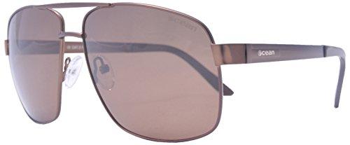 Ocean Sunglasses - Londres - lunettes de soleil en Métal - Monture : Marron Mat - Verres : Fumée (19700.1)