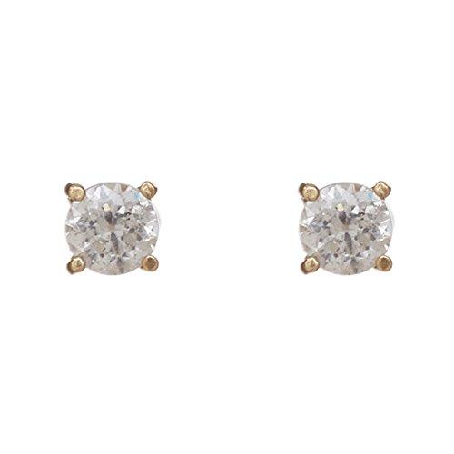 Superstar Orecchini Donna in Oro 14 carati Giallo con Zircone Bianco, Linea Solitario Punto luce, 0.9 Grammi