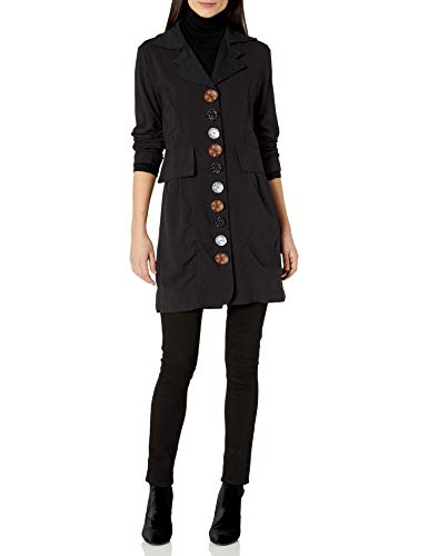 Neon Buddha Women's Lightweight Cotton Jacket Female Long Blazer with Contrasting Buttons and Pockets,Black,Large