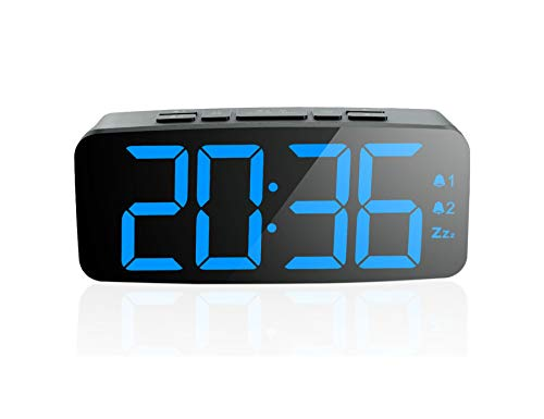 ONTA Pingko Digitaler Wecker, großes Smart-LED-Display, Schlummerfunktion, verstellbare Helligkeit, klein und leicht für Reisen, Schreibtisch oder Schlafzimmer