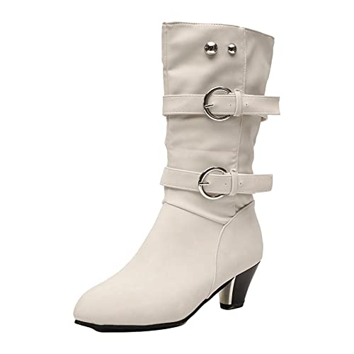 DKBL Long Boots for Women Winter and Autumn Boots Fashion Belt Buckle Boots Cashmere Warm Snow Boots Ankle Boots Beige