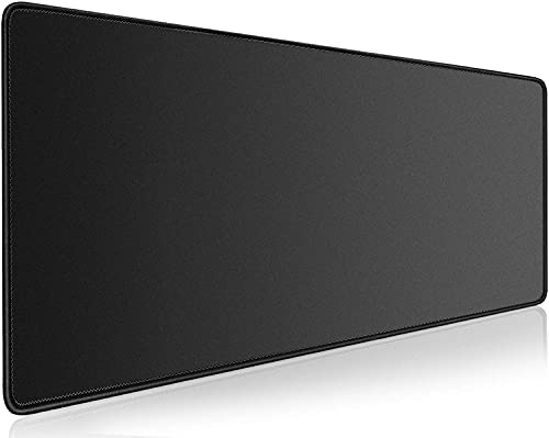 Gaming Mouse Mat Pad,XXL Extended Large Mousepad,Big Gaming pad Extra Long Computer Keyboard mat Non-Slip Rubber Base , Stitched Edges, Waterproof Desk Pad for Work&Gaming,(31.5x15.7In),Black