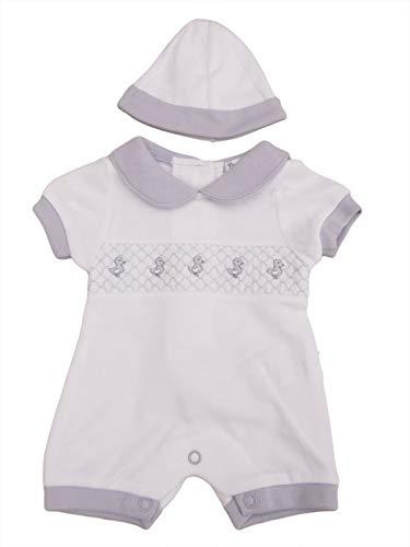 avec étiquettes. Petit prématuré Preemie bébé blanc et gris canard barboteuse costume chapeau - Blanc - S