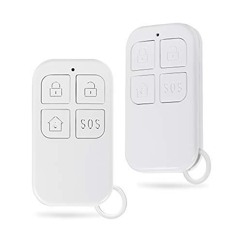 FUERS R10 Mando a Distancia Control Remote para Sistema de Alarma Antirrobo Hogar Inalámbricas con 4 Botones, 433MHz, Armar/Desarmar/Armar para Casa/SOS, Pilas Incluidas(2PCS)
