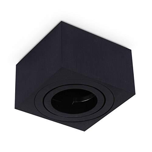 Mini-Aufbaurahmen Schwarz eckig für Aufbauleuchte – Aufbaustrahler schwenkbar aus Aluminium 50mm hoch – für LED und Halogen GU10 MR16 Leuchtmittel – Einbaustrahler, Rahmen