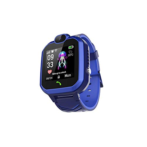 Smartwatch Reloj Inteligente con GPS para niños,Reloj Inteligente antipérdida,Adecuado para niños y niñas,Resistente al Agua IP67,Llamada bidireccional,Huella histórica,Ayuda de Emergencia (Azul)
