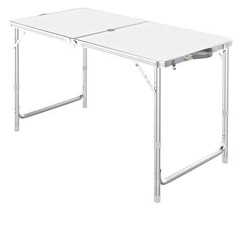 Mesa y silla de aleación de aluminio ajustable portátil de 1,2 m, mesa de comedor plegable portátil para interiores y exteriores, mango de picnic camping barbacoa (puede instalar paraguas)-blanco