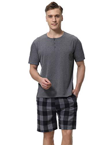 Aibrou Herren Kurz Zweiteiliger Schlafanzug,Baumwolle Pyjama Set, Shirt + Short Dunkelgrau L