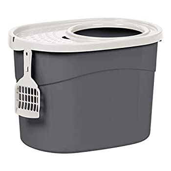 Iris Ohyama, Maison de toilette pour chat avec couvercle à trous, entrée par le haut et pelle - Top Entry Cat Litter Box - TECL-20, plastique, gris, 52 x 37,5 x 36,5 cm