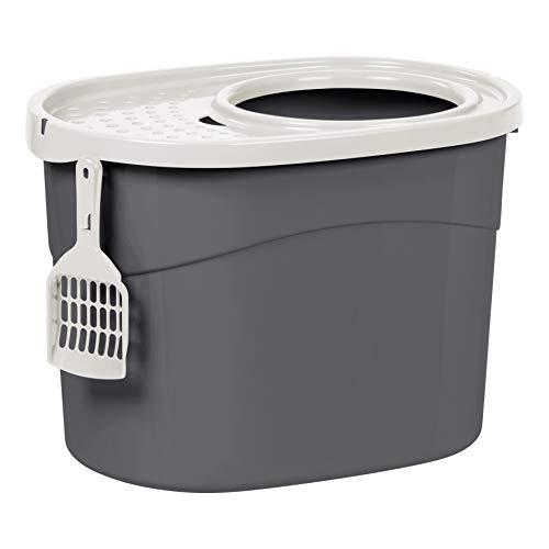 Iris Ohyama, Bandeja de arena para gatos con tapa perforada, sin olores ni derrames de basura, entrada grande ø 22,9 cm, pala incluida, para gato - Top Entry Cat Litter Box TECL-20 - Gris