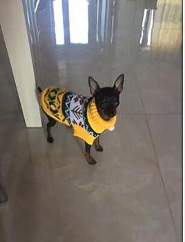 Tineer Manteau de Tricot de Flocon de Neige de Chien d'animal familier, Chiot Chat Pull-Overs Sweater Jacket Hiver Noël vêtements Chauds (XXL, Jaune)