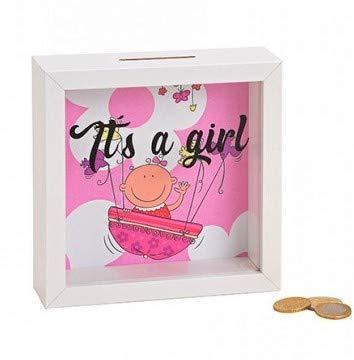 MC Trend Caja de Dinero Marco de Imagen con la función de larguero alcancía de la Bolsa de la niña de Nacimiento bebé Dinero Regalo Idea (Rosa/Rosa)