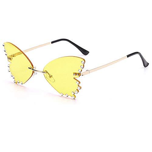YHKF Gafas De Sol Mariposa Gafas De Sol Mujer Hombre Moda Sol Cristal Diamantes De Imitación Gafas Uv400-Amarillo