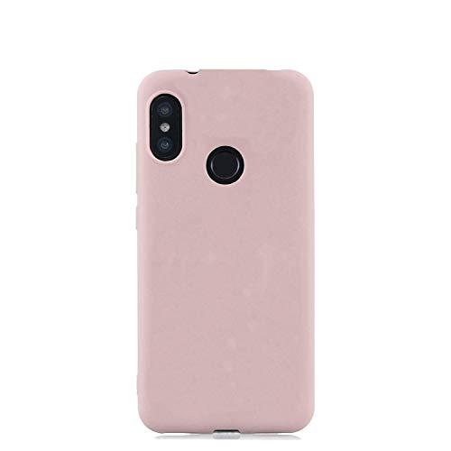 cuzz Funda para Xiaomi Redmi Note 5 Pro+{Protector de Pantalla de Vidrio Templado} Carcasa Silicona Suave Gel Rasguño y Resistente Teléfono Móvil Cover-Rosa Claro