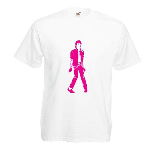 lepni.me Camisetas Hombre Me Encanta M J - Rey del Pop, 80s, 90s Músicamente Camisa, Ropa de Fiesta (XX-Large Blanco Magenta)