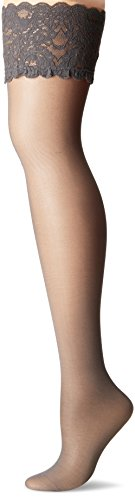 Wolford Damen Satin Touch 20 Stay-Up 20 DENIER steel L