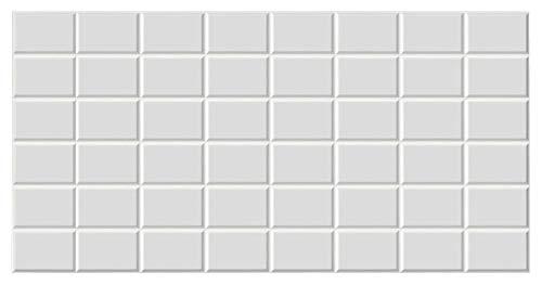 Paneles 3D de PVC fáciles de aplicar – Grosor 4 mm – Efecto madera, efecto ladrillo y mosaico – Para interiores, precio por pieza (baldosa blanca 96 x 48 cm [9956]