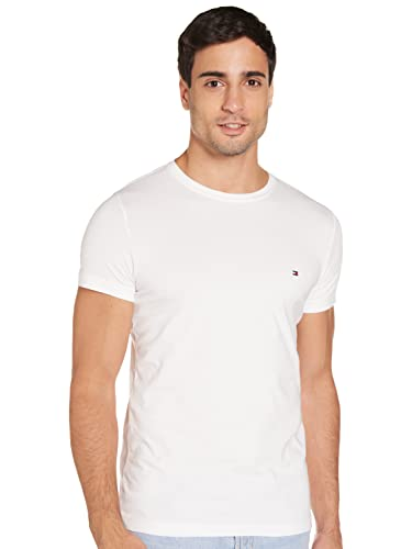 Tommy Hilfiger Core Stretch Slim Cneck tee Camiseta, Blanco (Bright White 100), L para Hombre