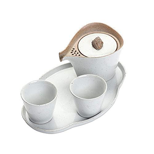 Juegos de té para adultos Tetera de porcelana de estilo japonés con asa y juego de tazas de té Servicio para 2 adultos Bellamente excelente Decoración del hogar Hogar para el hogar (Color: Blanco, Tam