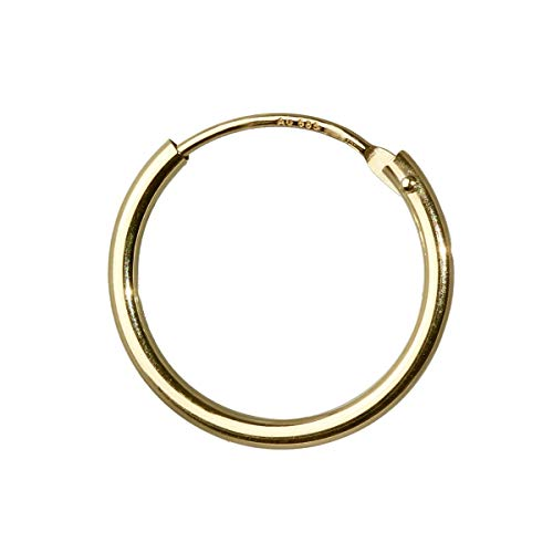 NKlaus 585 real gold single men's creole earring earrings 15mm 1747