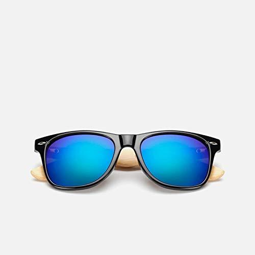 Gafas de Sol Sunglasses Gafas De Sol De Madera De Bambú para Mujer, Gafas De Sol Uv400 con Espejo, Tonos De Madera Real, Gafas De Sol Doradas Y Azules para Exteriores, GaAnti-UV