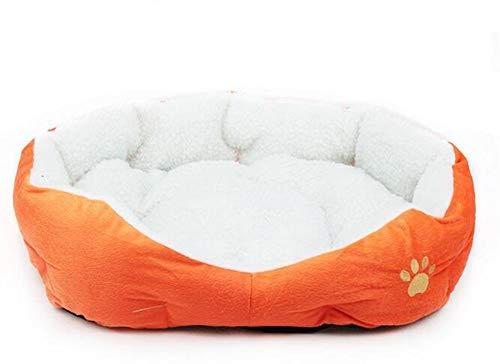 Weimay Pet lit Panier Coussin de Couchage pour Chien Chat en Laine d'agneau Doux Chaud Confortable Maison Kennel (Orange)
