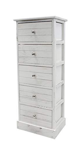 DARO DEKO Kommode mit Schubladen weiß antik 35 x 25 x 89 cm