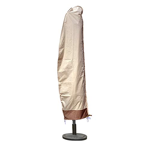 Outdoor Patio Umbrella Cover Beige and Coffee Color, Banana Parasol Waterproof Umbrella Cover Offset Market Durable Umbrella Cover with Zipper, Suitable for 8ft to 11ft