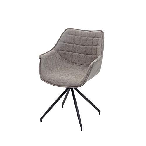 Esszimmerstuhl HWC-H44, Küchenstuhl Stuhl, drehbar Auto-Position Metall - Kunstleder Vintage grau, Fuß schwarz