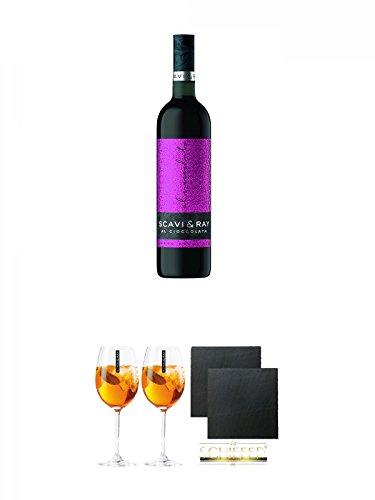 Scavi & Ray Al Cioccolata Rosso Prestigio 0,75 Liter + Scavi & Ray Prosecco Sprizzione (kein Grünstich) Glas 2 Stück + Schiefer Glasuntersetzer eckig ca. 9,5 cm Ø 2 Stück