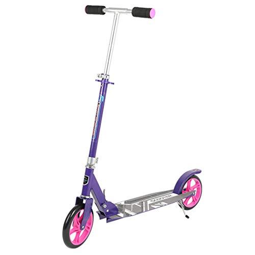 W-star Scooters de Dos Ruedas, de aleación Scooters Plegables portátiles de Aluminio Rodillo de Altura Ajustable, Adecuado para niños y Adultos, Peso 120 kg,Púrpura