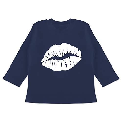 Karneval und Fasching Baby - Lippen Kostüm - weiß - 6/12 Monate - Navy Blau - Verkleidung Kostüm...