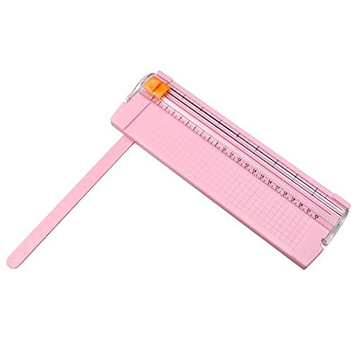 Suaywo Papierschneider Schneidemaschine Papierschneidemaschine mit Automatischer Sicherheit Schutz und Seitenlineal Schneidegerät für Papier, Fotos, Handwerksprojekt, Etikett - Rosa