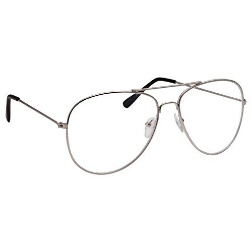 grinderpunch Aviator–Gafas Lente Transparente anteojos de moda non-prescription UV400, Plateado